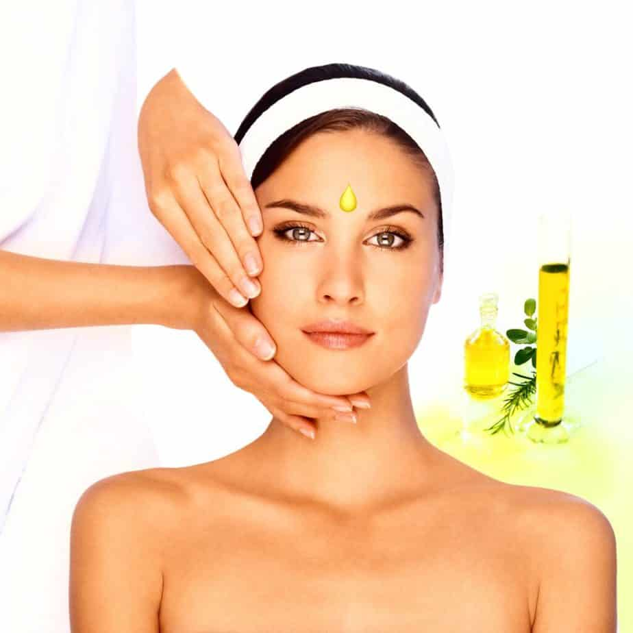 Skin treatment with olive oil.
