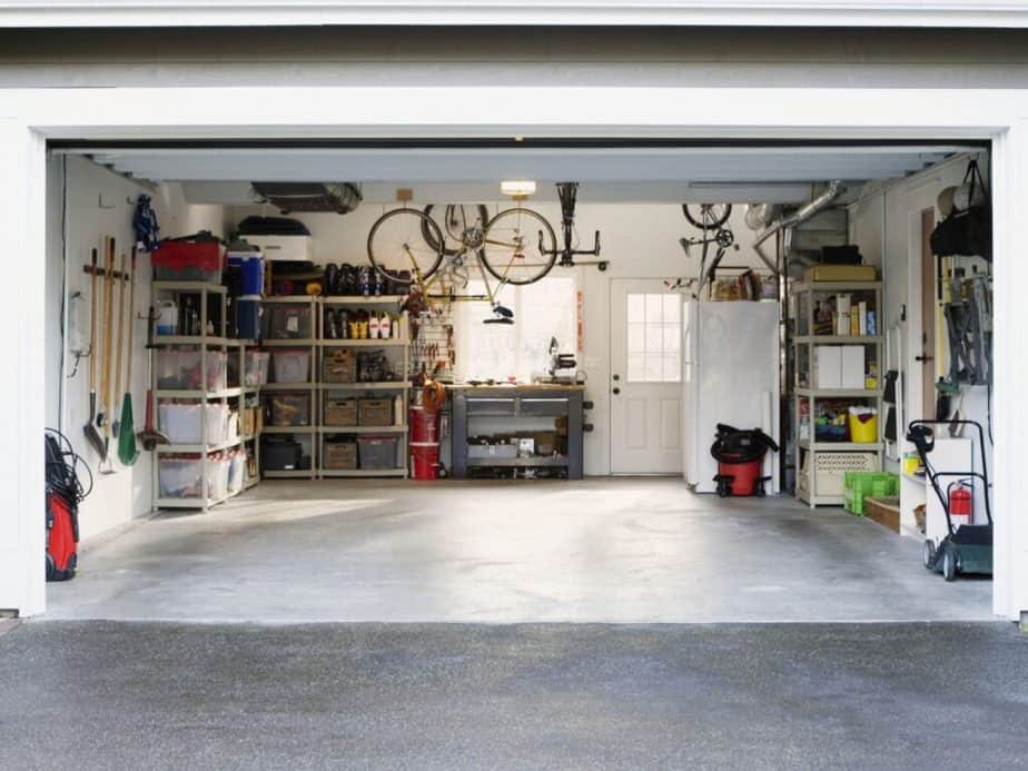 A garage which could be transformed into a home gym.