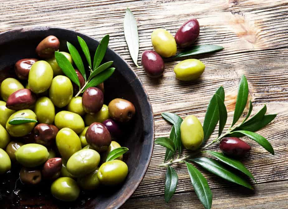 A various types of olives.