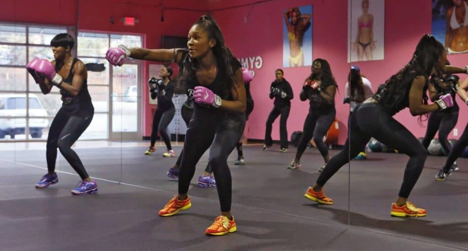 A girls are having a training at the gym.