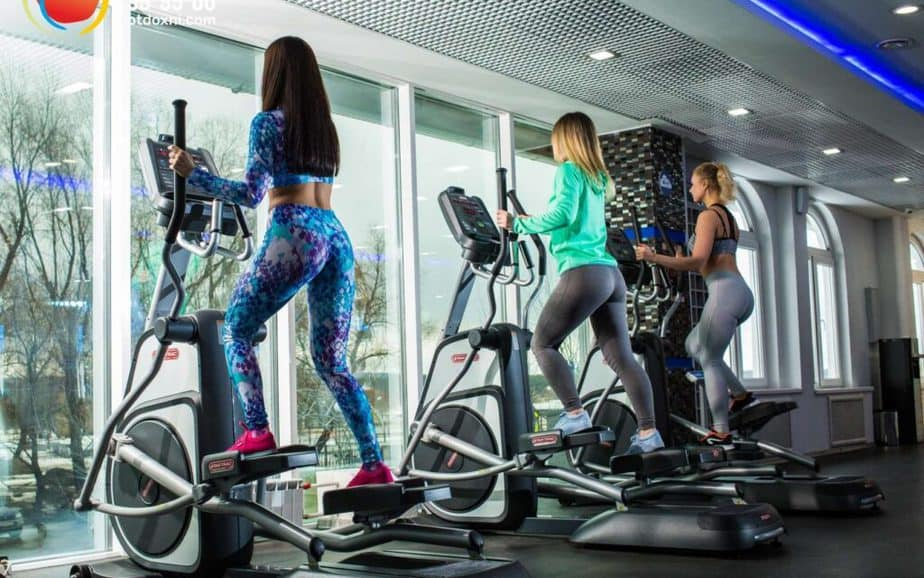 A girls are having cardio training on Stepper machines.