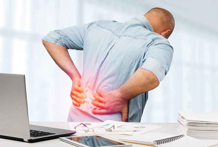 A man has a disc herniation pain.