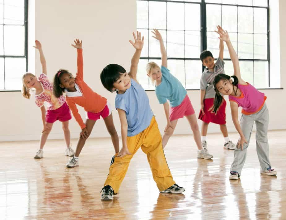 Children exercising in fitness class.