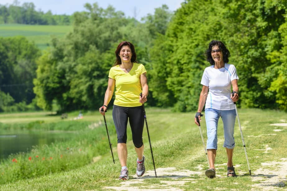 Nordic walking training in any season.