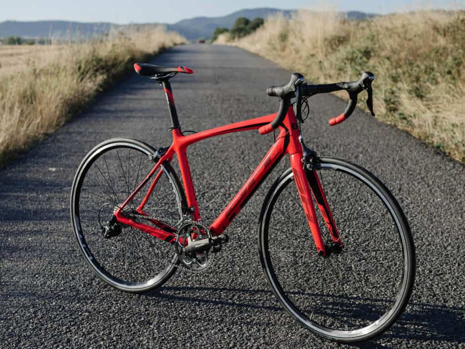 Racing bicycle on the road.