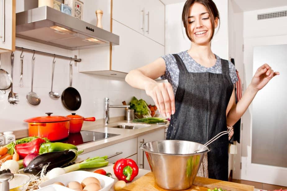 a woman preparing a balanced meal