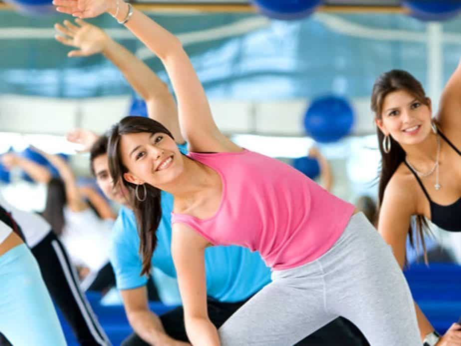 A girls has an aerobic training.