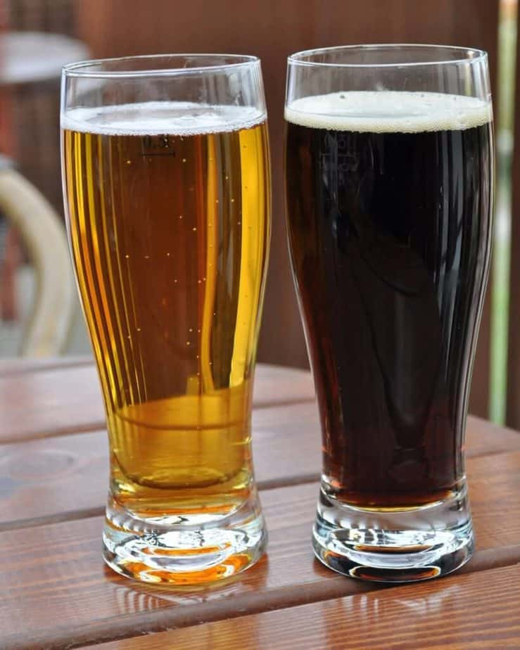 Summer drinks - Light and dark beer.
