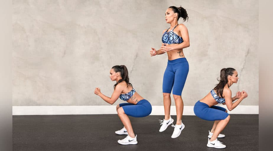 Explosive training - best way for a tight buttocks - a girl has a squat - jump training.