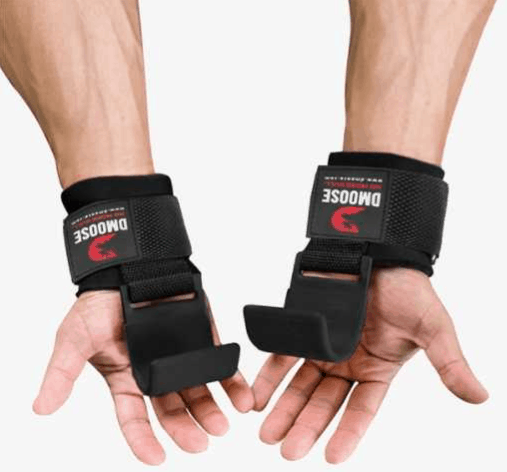 hands with weight lifting hooks